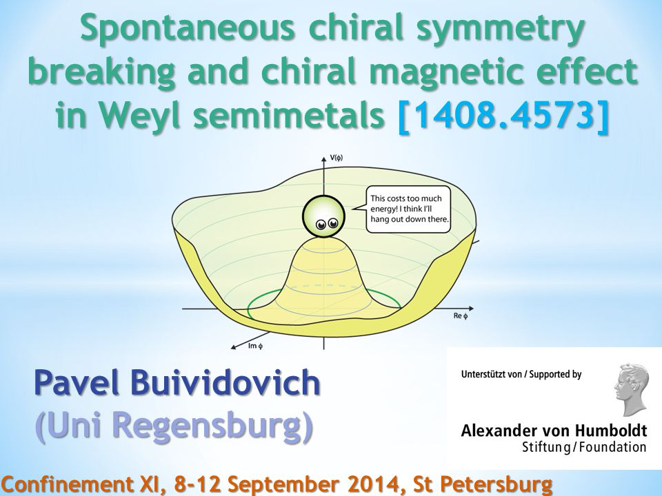 Spontaneous chiral symmetry breaking and chiral magnetic effect in Weyl semimetals [1408.4573]